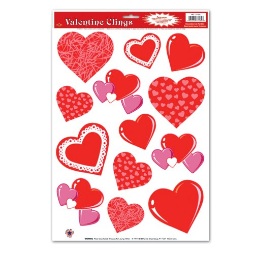 Valentine Window - Heart Clings Party Accessory (1 count) (13/Sh)