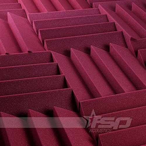 12x12x2-12-pack-burgundy-acoustic-wave-sound-proofing-treating-studio-foam-tiles