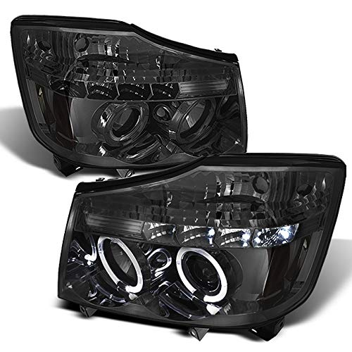 For Nissan Titan Armanda Smoked Smoke Dual Halo Projector LED Headlights Front Lamps Replacement Pair