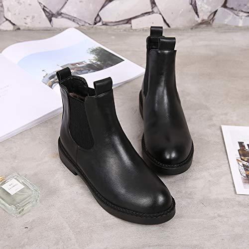 KPHY Damenschuhe Lederstiefel Lederstiefel Lederstiefel Frauen Ist Im Herbst Und Winter Britische Chelsea Stiefel Einzelne Schuhe Niedrige Absätze Und Nackten Stiefel Martin Stiefel. 2477d6