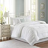 Madison Park Celeste Queen Size Bed Comforter Set - White, Ruffle Stripes – 5 Pieces Bedding Sets – Ultra Soft Microfiber Bedroom Comforters