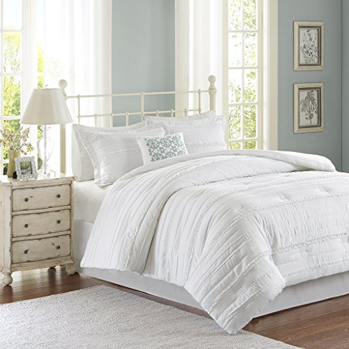 Madison Park Celeste King Size Bed Comforter Set - White, Ruffle Stripes – 5 Pieces Bedding Sets – Ultra Soft Microfiber Bedroom (Stripe King Ruffle)