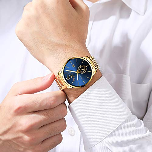 51T2Clami6L. SS500  - NIBOSI Mens Analogue Quartz Watch with Stainess Steel Strap Top Brand Luxury Business Quartz Watch Men Full Steel Fashion Waterproof (Gold Blue)