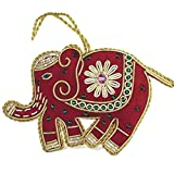 Heirloom Quality Hand Beaded Red Elephant Ornament - Fair Trade