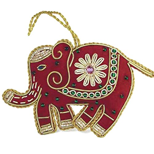 Beaded Elephant - Heirloom Quality Hand Beaded Red Elephant Ornament - Fair Trade