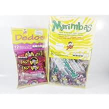 Box Of Lollipop Marimbas and Dedos Indy Spicy And Sour Candy Authentic Mexican Candy With Free Kinder Bar Included