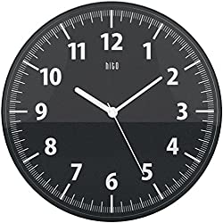 hito Classic Modern Silent Non-ticking Wall Clock w/ Transparent Plastic Frame and Cover- 11 inches (Black)