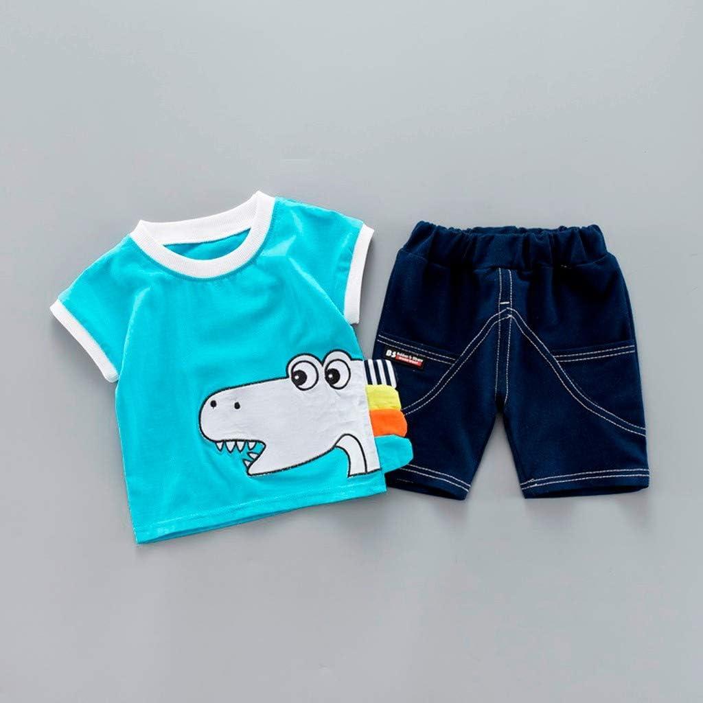 MOGOV 2Piece Baby Boys Cartoon Animal Print T Shirt Tops Jeans Short Summer Clothes Suit