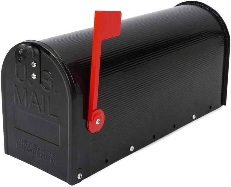 PrimeMatik - Buzón US Mail de Aluminio para Correo Postal Americano Negro