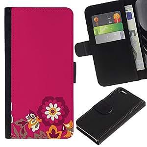 KingStore / Leather Etui en cuir / Apple Iphone 6 / Flores minimalista Pétalo púrpura