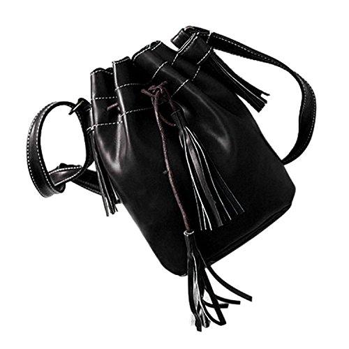 TOOGOO(R) Bolso de las mujeres de la borla de moda Bolso del cubo de cuero de la PU para mujeres Bolso del remiendo del mensajero de hombro Marron Negro(20 * 15 * 9cm)