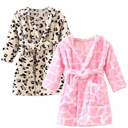 Flannel Kids Robe (kilofly 2 Sets Soft Cozy Flannel Hooded Bathrobe Toddler Kids Pajama Sleepwear)
