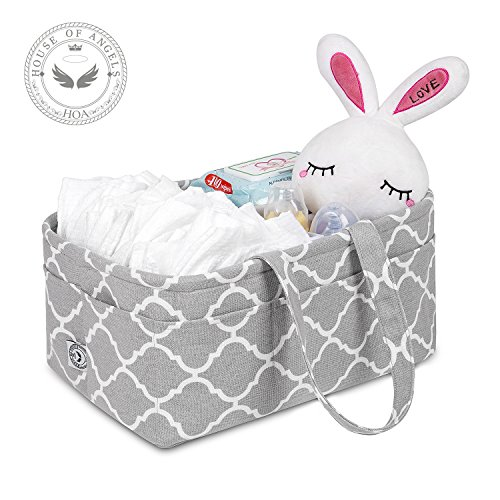 Baby Diaper Caddy Portable Organizer|Large Nursery Diaper Tote Bag|Car Travel Organizer|Diaper Storage Bin for Changing Table Boy Girl|Baby Shower Gift|Newborn Registry Must Have|Cute Infant Basket -