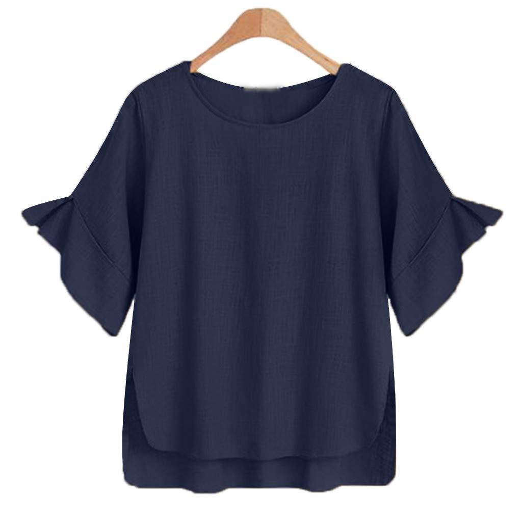 コットンリネン Tシャツ ラッフルスリーブ サイドスプリットブラウス Tシャツ 夏 ゆったり 通気性 ハイロートップ ポキオル B07QMT9S99 ネイビー Large