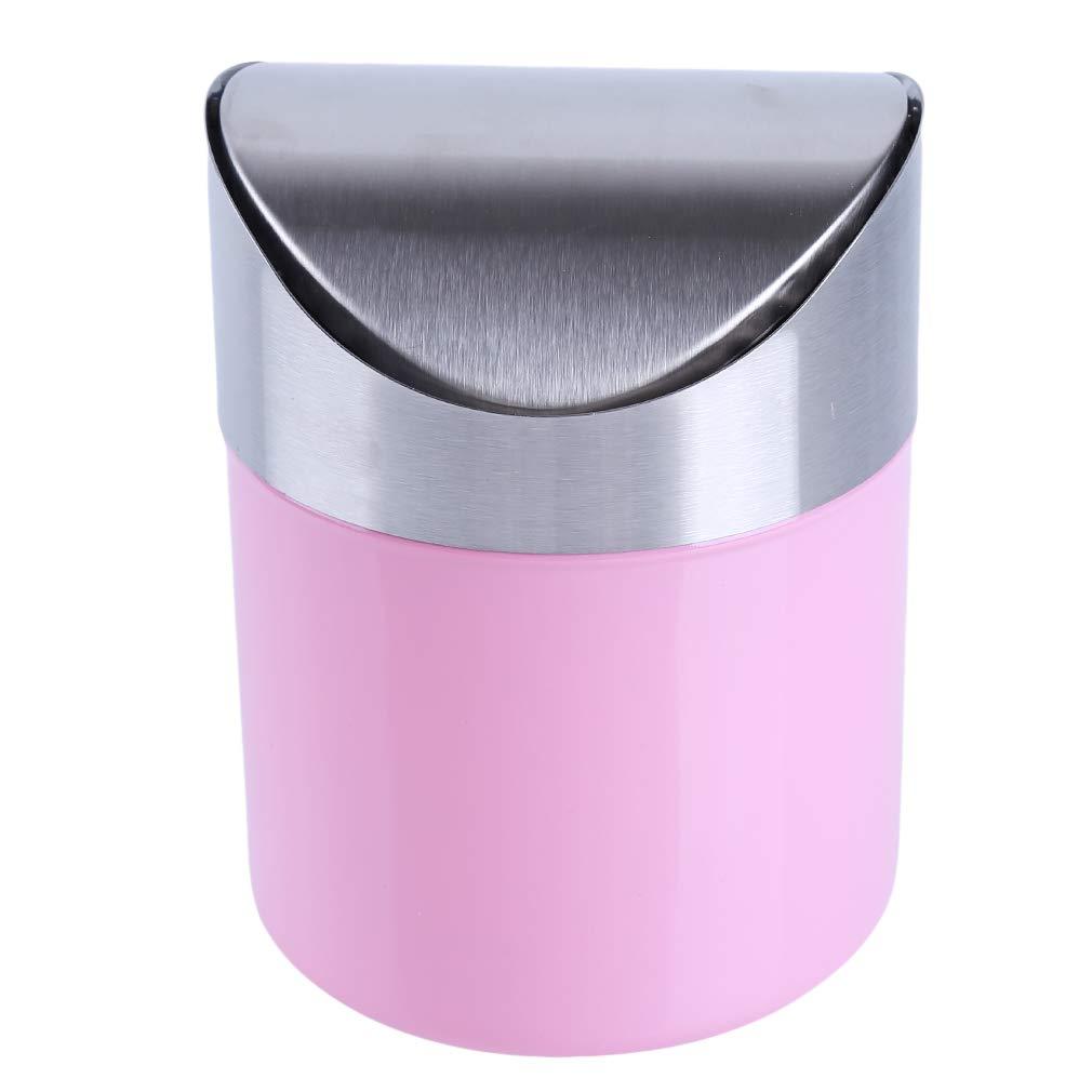 SOURBAN 環境に配慮したゴミ箱 ステンレススチール製 デスクトップ用ゴミ箱 クリエイティブなシェイク ミニゴミ箱 デスク 車 ゴミ箱 6.2*4.7inch ピンク 82  ピンク B07JJJM97H