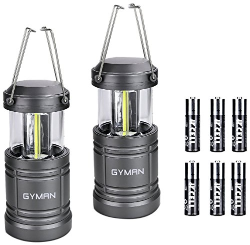 Led Lantern GYMAN Camping Lantern(2 Pack Collapsible) with 6 AA Batteries Ultra Bright with Magnetic Base Best Camping Equipment Gear Survival Kit for Emergency, Hurricane, Power Outage and Repairing