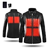CLIMIX Slim Fit Women Heated Jacket PU Leather Jacket Kits with Battery (M)