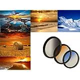 3er Verlaufsfilter Set (Blau, Grau, Orange) für Digitalkameras - Filterdurchmesser 67mm - Inkl. passendem Filtercontainer