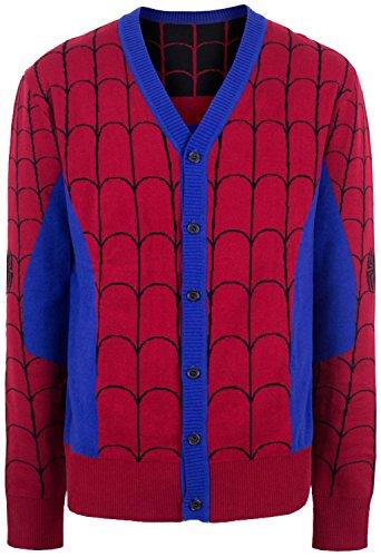Mighty Fine Men's Marvel Comics Spider-Man Cardigan Sweater Red 2XL
