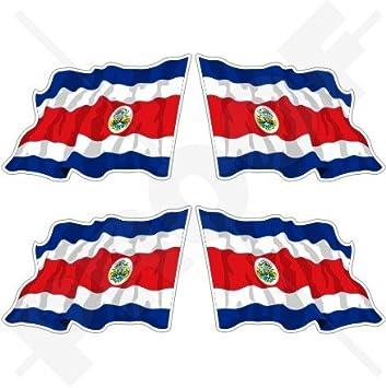 """COSTA RICA Estado Bandera Ondeante, Centroamérica 2"""" (50mm) Pegatinas de Vinilo Adhesivos"""