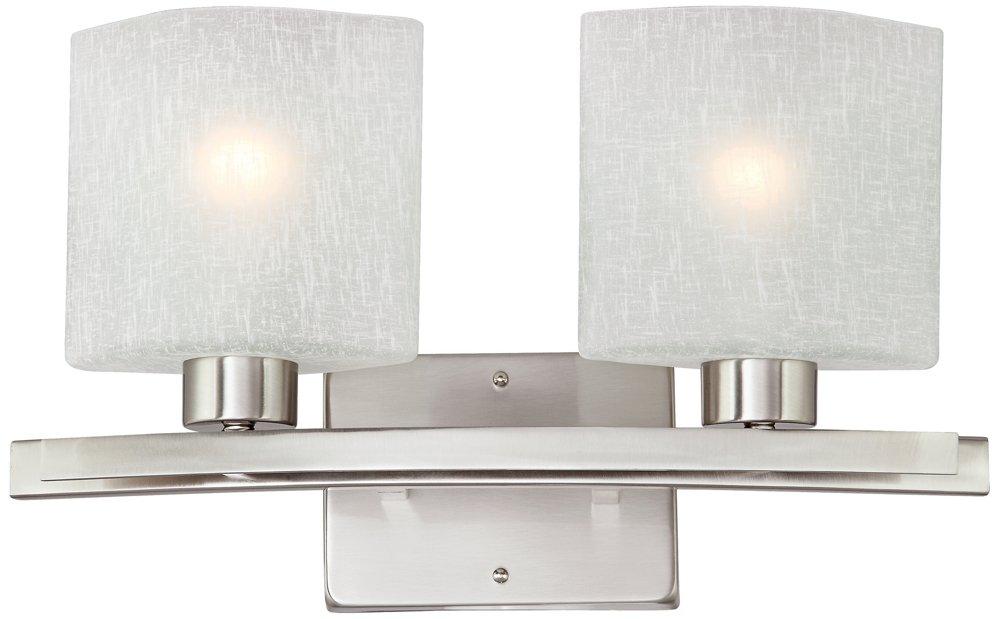 Possini Euro Linen Glass 17'' Wide Brushed Steel Bath Light