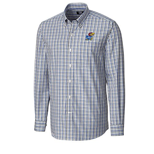 Cutter & Buck NCAA Kansas Jayhawks Men's Long Sleeve Gilman Plaid Shirt, X-Large, Tour Blue