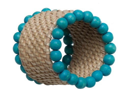 Table Rattan Painted (Kouboo Laguna Handwoven Rattan Napkin Rings with Turquoise Wood Bead Trim, Set of 4)