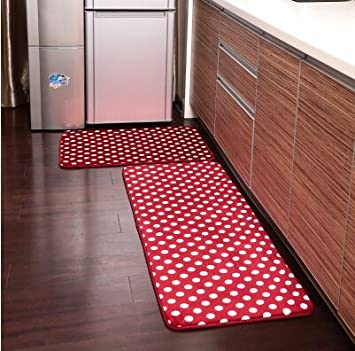 Ustide 3 Piece Red Polka Dots Kitchen Rug Set Kitchen Memory Foam Rug Soft  Rug