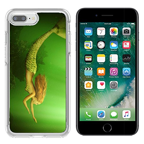Luxlady Apple iPhone 7 plus/8 plus Clear case Soft TPU Rubber Silicone Bumper Snap Cases iPhone7 plus/8 plus IMAGE ID: 40818061 Fantasy beautiful woman mermaid with fish tail and long d