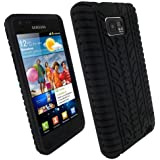 igadgitz Negro Case Neumático Tyre Silicona Funda Cover Carcasa para Samsung Galaxy S 2 ii i9100 + Pantalla Protector