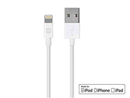Monoprice Select Series Apple MFi Certified Lightning to USB Charge  amp; Sync Cable, 6ft White Cables