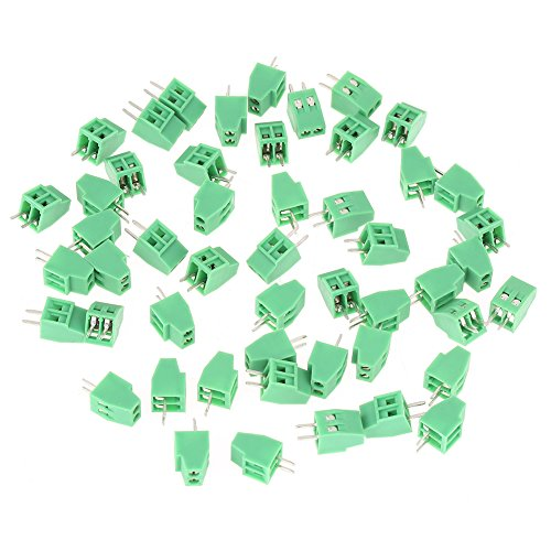 50pcs/Set 2 Pin Terminal Block Connector, 2.54mm Pitch Green PCB Mount Universal Screw Terminal Block Connector, Low Frequency/PCB Wiring Green ()
