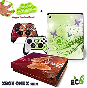 Xbox One X Pegatina Decals Morbuy Skin Adhesivo de Vinilo Stickers Cover Estilo Personalidad de la Moda Protector Console and 2 Controllers+ 1pc Mano Dedo Fuerza Ejercitador (Encantadora mariposa): Amazon.es: Hogar