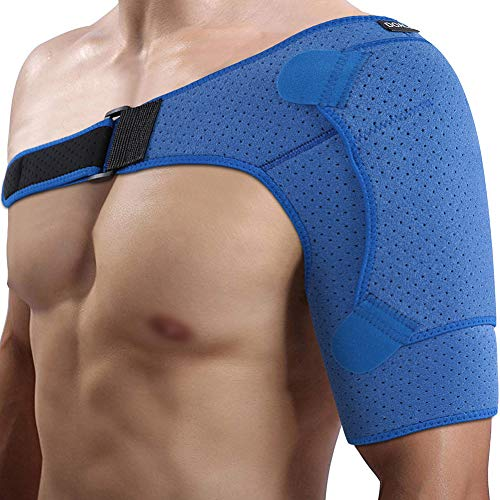 DOACT Hombro Apoyo con Almohadilla de Presión, Ajuste de Compresión Respirable Apoyo de Hombro para Manguito Rotador, Alivio del Dolor Muscular Recuperación Dislocado Articulación(Busto: 39