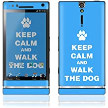 Sony Xperia S Decal Phone Skin Decorative Sticker w/ Free Matching Wallpaper - Keep Calm and Walk the Dog