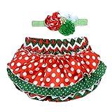 Rush Dance Christmas Chevron Satin Baby Ruffle Bloomers Diaper Covers & Headband