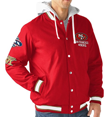 San Francisco 49ersメンズ長袖Glory Hooded Varsity Jacket