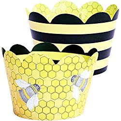 Bumble Bee Cupcake Wrappers, 36 Reversible Yellow and Black Stripe Girl Baby Shower Decoration, Honey Bee Hive Cup Cake Liner Holder, What Will it Be Gender Reveal Party Supplies, Confetti Couture
