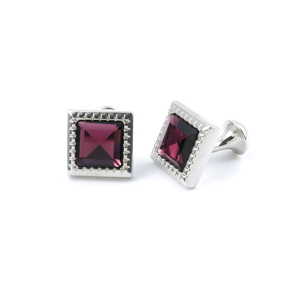 10 Pairs Men Boy Jewelry Cufflinks Cuff Links Party Favors Gift Wedding ZH070 Deep Red Crystal Square by YAOLIHONG JEWELRY (Image #1)