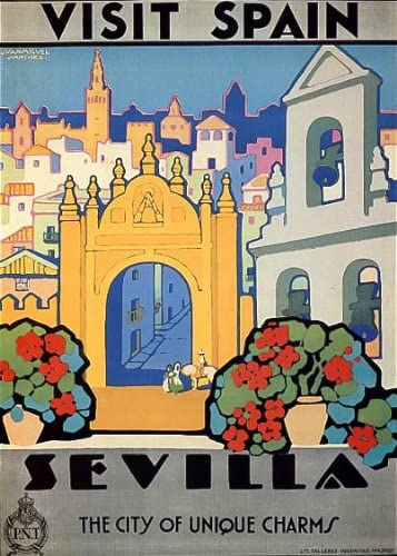 Visit Spain Seville A City of Unique Charms Tourism Travel Vintage Poster Repro FREE Shipping in USA Shipped Rolled-Up