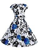 Dressystar DS1956 Women Vintage 1950s Retro Rockabilly Prom Dresses Cap-Sleeve XXL Blue Flower