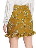 SweatyRocks Womens Boho Floral Print High Waist Ruffle Short Mini Wrap Skirts