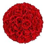 Kizz-Large-984-Inch-Wedding-Decor-Rose-Flower-Kissing-Ball-Burgundy-Red