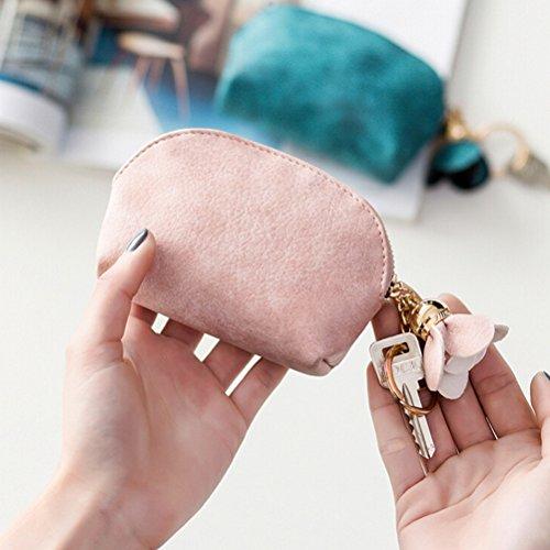 Tinksky Soft Shell Münze Geldbörse Tasche Clutch Handtasche Chic Blume Blütenblätter Quaste Anhänger Mini Wallet Holder mit Schlüssel Chian für Frauen Mädchen (Pink)