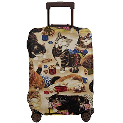 - Curious Cats Sewing Notions Tan Travel Luggage Cover Elastic Suitcase Protector Anti-Scratch Dust Water Proof with Zipper Fit 18