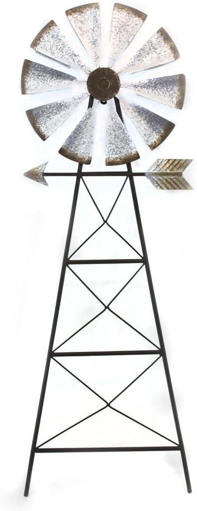 Zeckos Galvanized Finish Rustic Metal Windmill Wall Sculpture