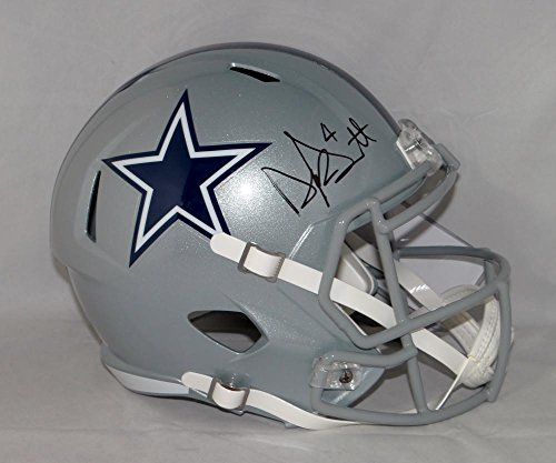 Dak Prescott Autographed Dallas Cowboys Full Size Speed Helmet- JSA W Auth (Autographed Dallas Cowboys Authentic Helmet)