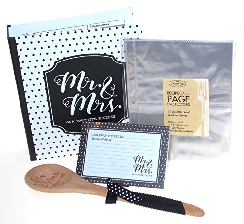 Brownlow Black & White Mr Mrs Book - Matching Binder, 4 x 6 Cards, Tabbed Dividers, Protector Pages & Wooden Spoon (Bridal Shower Recipe Cards)