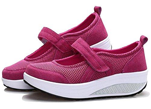 GFONE Women's Mary Jane Trainers Wedge Platform Loafers Walking Shoes Hiking Casual Shoes Rose jErC05Jia