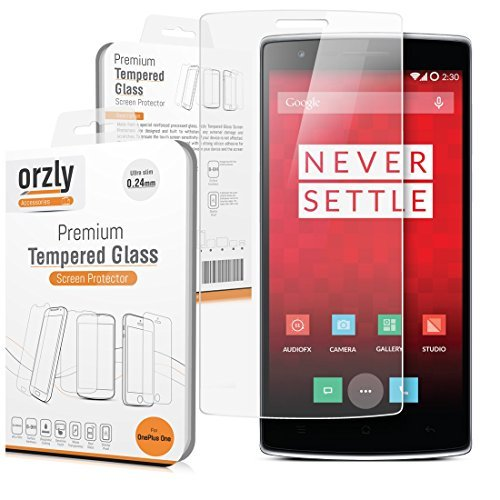 Orzly - OnePlus ONE Premium Tempered Glass 0.24mm Protective Screen Protector for the Original Premier Launch Model of SmartPhone called 'ONE' by ONE PLUS (Alias: New 2014 Release Version / First Ever Flagship Model of Smart Phone released by 'ONE PLUS' known as the 'ONE' / etc.) (1 Glass)
